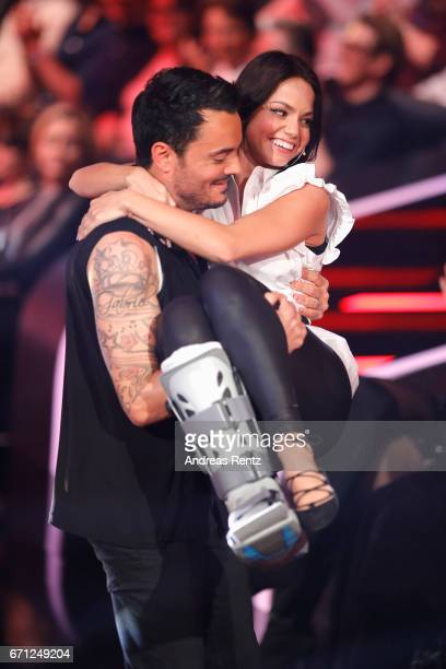 Giovanni Zarrella with injured Christina Luft during the 5th show of the tenth season of the television competition 'Let's Dance' on April 21 2017 in...