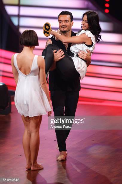 Giovanni Zarrella with injured dance partner Christina Luft and Marta Arndt during the 5th show of the tenth season of the television competition...