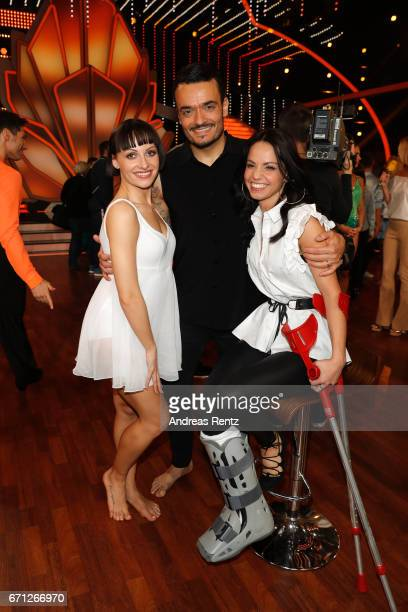 Giovanni Zarrella with injured dance partner Christina Luft and Marta Arndt pose after the 5th show of the tenth season of the television competition...
