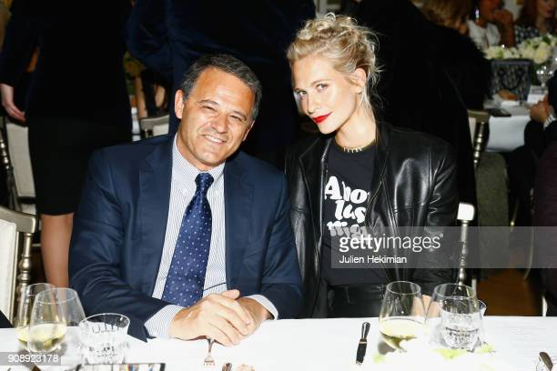 Giovanni Zoppas and Poppy Delevingne attend the Swarovski Eyewear Dinner as part of Paris Fashion Week at Hotel Crillon on January 22 2018 in Paris...