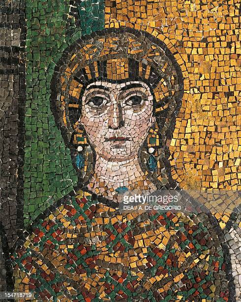 Giovannina Belisarius' daughter detail from Theodora and her entourage mosaic south wall of the apse Basilica of San Vitale Ravenna EmiliaRomagna...