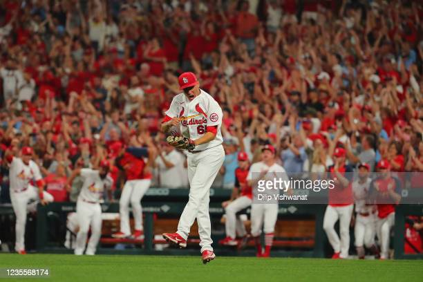 Giovanny Gallegos of the St. Louis Cardinals celebrates after beatingthe Milwaukee Brewers in the ninth inning to clinch a wild-card playoff birth at...