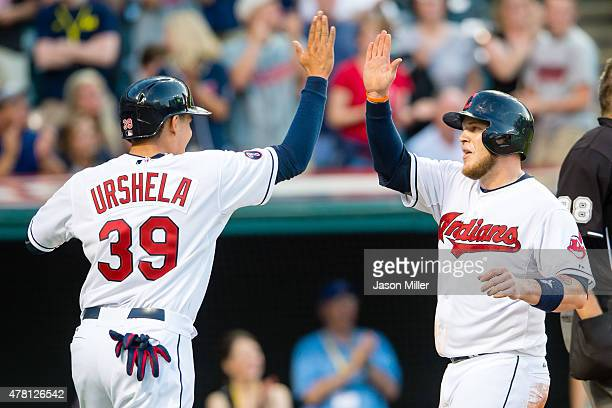 Giovanny Urshela and Roberto Perez of the Cleveland Indians celebrate after scoring on a double by Jason Kipnis during the third inning against the...