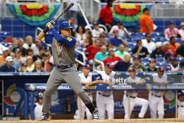 Giovanny Urshela of Team Colombia bats during Game 2 Pool C of the 2017 World Baseball Classic against Team USA on Friday March 10 2017 at Marlins...