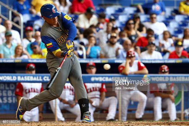 Giovanny Urshela of Team Colombia bats during Game 3 Pool C of the 2017 World Baseball Classic against Team Canada on Saturday March 11 2017 at...