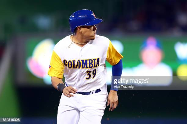 Giovanny Urshela of Team Colombia runs the bases in the first inning during Game 5 of Pool C of the 2017 World Baseball Classic against Team...