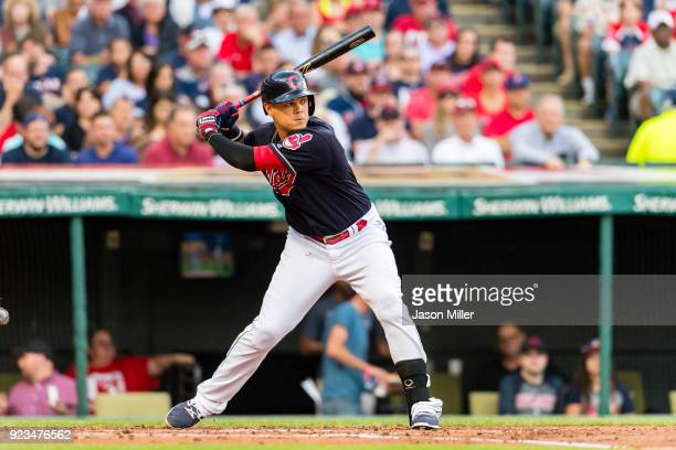 Giovanny Urshela of the Cleveland Indians at bat during the second inning against the Los Angeles Angels of Anaheim at Progressive Field on July 25...