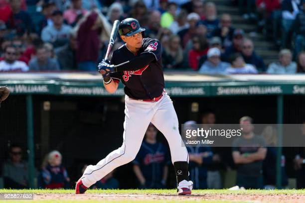 Giovanny Urshela of the Cleveland Indians at bat during the seventh inning against the Baltimore Orioles at Progressive Field on September 9 2017 in...