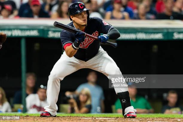 Giovanny Urshela of the Cleveland Indians at bat during the sixth inning against the Minnesota Twins at Progressive Field on September 26 2017 in...