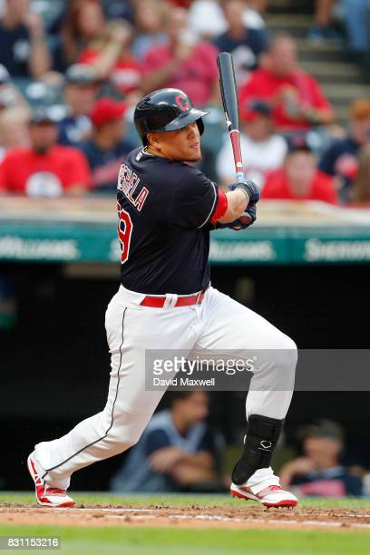 Giovanny Urshela of the Cleveland Indians bats against of the New York Yankees in the third inning at Progressive Field on August 5 2017 in Cleveland...
