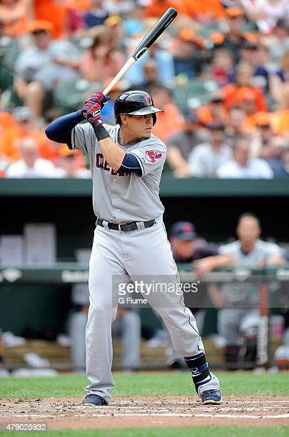 Giovanny Urshela of the Cleveland Indians bats against the Baltimore Orioles at Oriole Park at Camden Yards on June 28 2015 in Baltimore Maryland