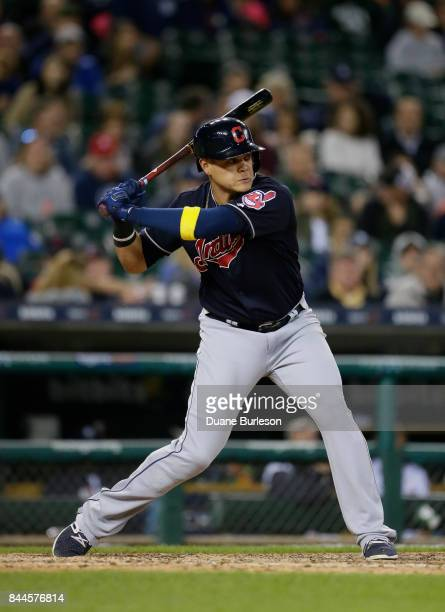 Giovanny Urshela of the Cleveland Indians bats against the Detroit Tigers during game two of a doubleheader at Comerica Park on September 1 2017 in...