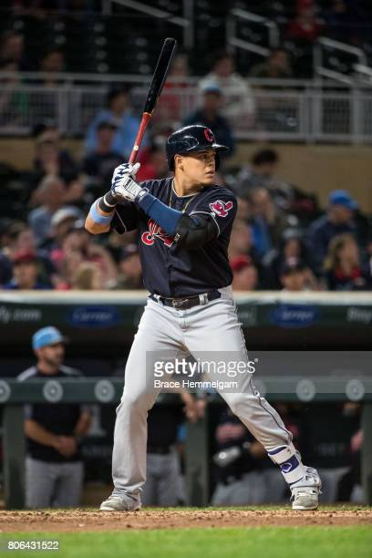 Giovanny Urshela of the Cleveland Indians bats against the Minnesota Twins in game two of a doubleheader on June 17 2017 at Target Field in...
