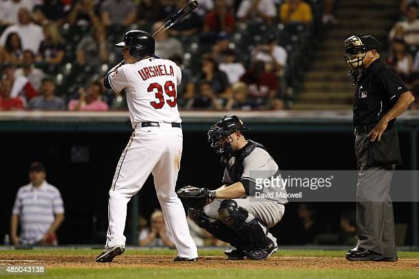 Giovanny Urshela of the Cleveland Indians bats against the New York Yankees during the eighth inning of their game on August 13 2015 at Progressive...