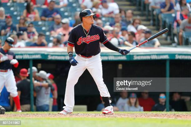 Giovanny Urshela of the Cleveland Indians bats against the New York Yankees in the ninth inning at Progressive Field on August 6 2017 in Cleveland...