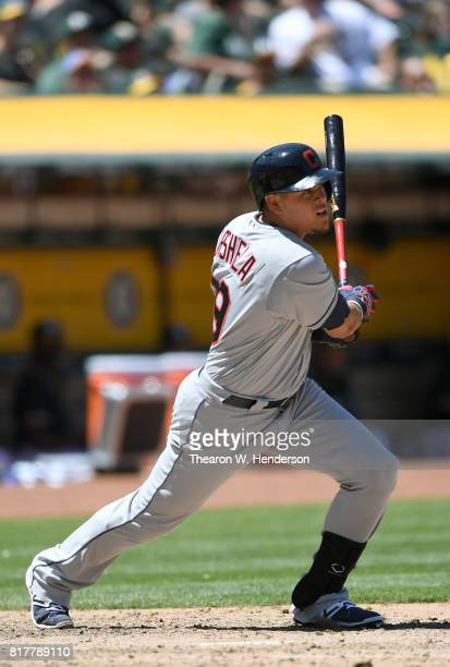 Giovanny Urshela of the Cleveland Indians bats against the Oakland Athletics in the top of the fifth inning at Oakland Alameda Coliseum on July 16...