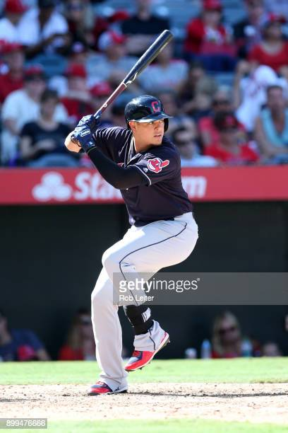 Giovanny Urshela of the Cleveland Indians bats during the game against the Los Angeles Angels of Anaheim at Angel Stadium on September 21 2017 in...