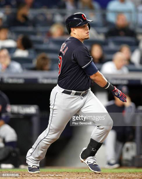 Giovanny Urshela of the Cleveland Indians bats in an MLB baseball game against the New York Yankees on August 28 2017 at Yankee Stadium in the Bronx...