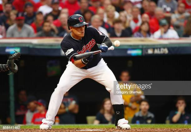 Giovanny Urshela of the Cleveland Indians bunts in the second inning against the New York Yankees during game two of the American League Division...
