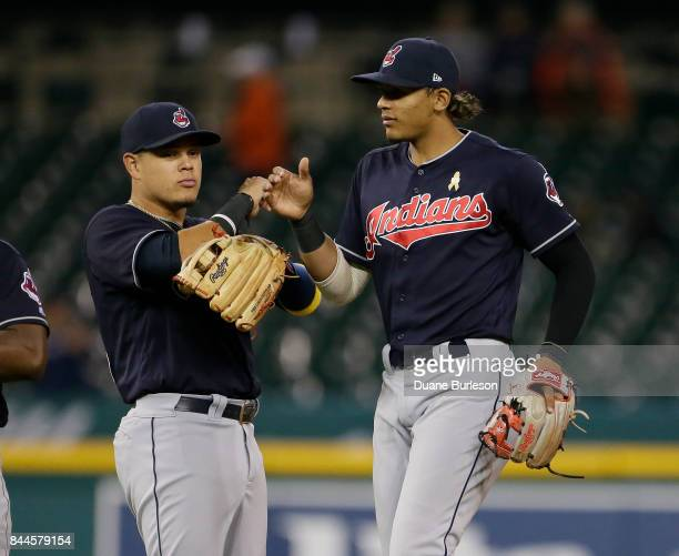 Giovanny Urshela of the Cleveland Indians celebrates with Erik Gonzalez of the Cleveland Indians after a win over the Detroit Tigers in game two of a...