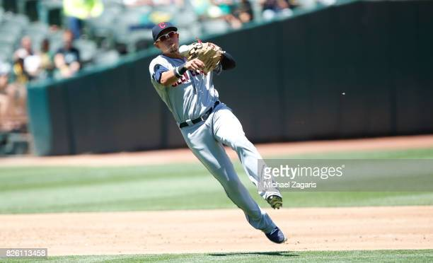 Giovanny Urshela of the Cleveland Indians fields during the game against the Oakland Athletics at the Oakland Alameda Coliseum on July 16 2017 in...
