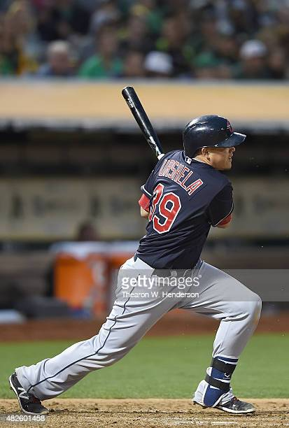 Giovanny Urshela of the Cleveland Indians get and infield hit for an rbi single scoring Yan Gomes against the Oakland Athletics in the top of the...