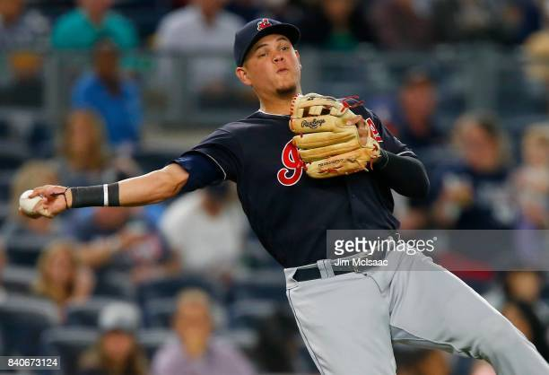 Giovanny Urshela of the Cleveland Indians in action against the New York Yankees at Yankee Stadium on August 28 2017 in the Bronx borough of New York...