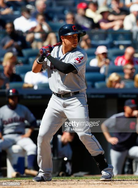 Giovanny Urshela of the Cleveland Indians in action against the New York Yankees in the first game of a doubleheader at Yankee Stadium on August 30...
