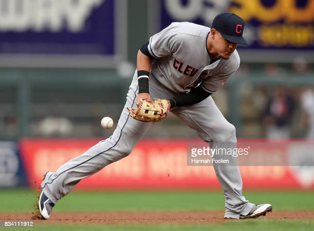 Giovanny Urshela of the Cleveland Indians is unable to field the ball hit by Byron Buxton of the Minnesota Twins during the fourth inning in game two...