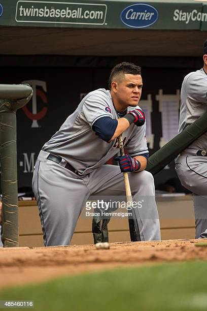 Giovanny Urshela of the Cleveland Indians looks on against the Minnesota Twins on August 16 2015 at Target Field in Minneapolis Minnesota The Twins...