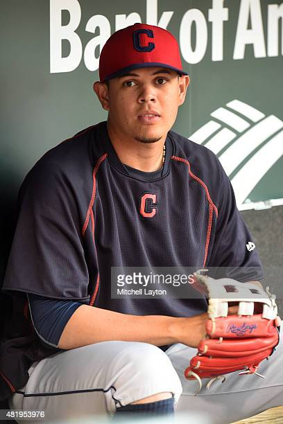 Giovanny Urshela of the Cleveland Indians looks on before a baseball game against the Baltimore Orioles at Oriole Park at Camden Yards on June 26...