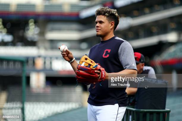 Giovanny Urshela of the Cleveland Indians looks on before the game against the Kansas City Royals at Progressive field on Thursday September 14 2017...