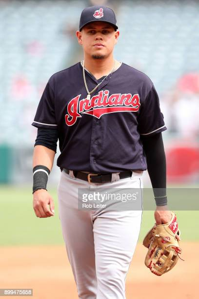 Giovanny Urshela of the Cleveland Indians looks on during the game against the Los Angeles Angels of Anaheim at Angel Stadium on September 21 2017 in...