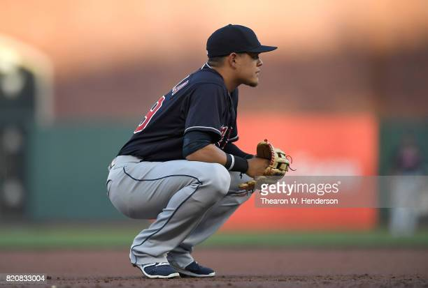 Giovanny Urshela of the Cleveland Indians looks on from his position against the San Francisco Giants in the bottom of the first inning at ATT Park...