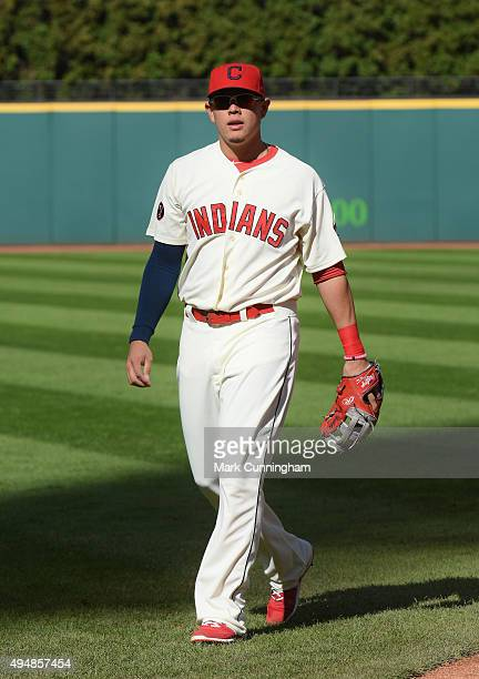Giovanny Urshela of the Cleveland Indians looks on prior to the game against the Boston Red Sox at Progressive Field on October 4 2015 in Cleveland...