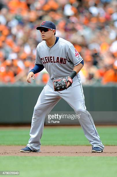 Giovanny Urshela of the Cleveland Indians plays third base against the Baltimore Orioles at Oriole Park at Camden Yards on June 28 2015 in Baltimore...