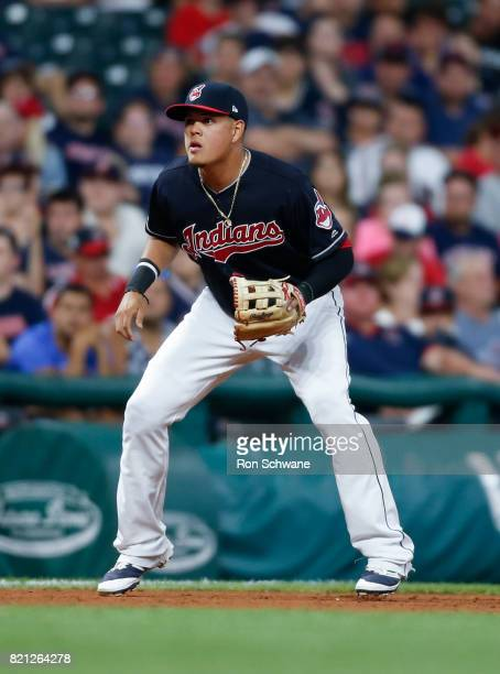 Giovanny Urshela of the Cleveland Indians plays third base against the Detroit Tigers during the eighth inning at Progressive Field on July 9 2017 in...