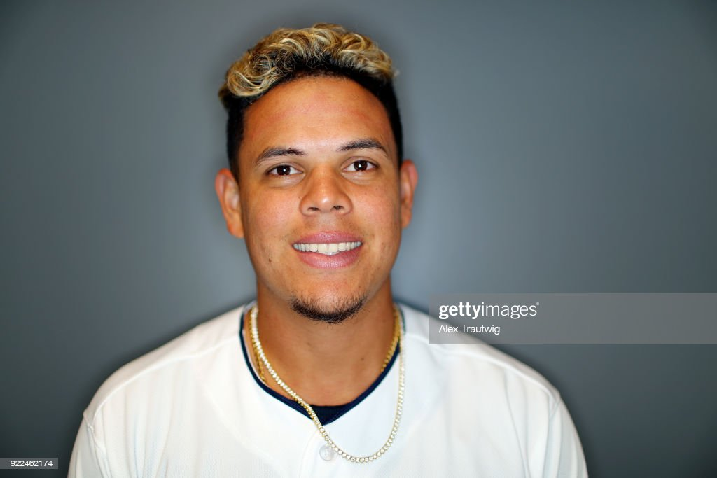 Giovanny Urshela #39 of the Cleveland Indians poses during Photo Day on Wednesday, February 21, 2018 at Goodyear Ballpark in Goodyear, Arizona.
