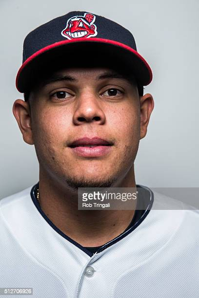 Giovanny Urshela of the Cleveland Indians poses for a portrait during photo day at the Cleveland Indians Development Complex on February 27 2016 in...