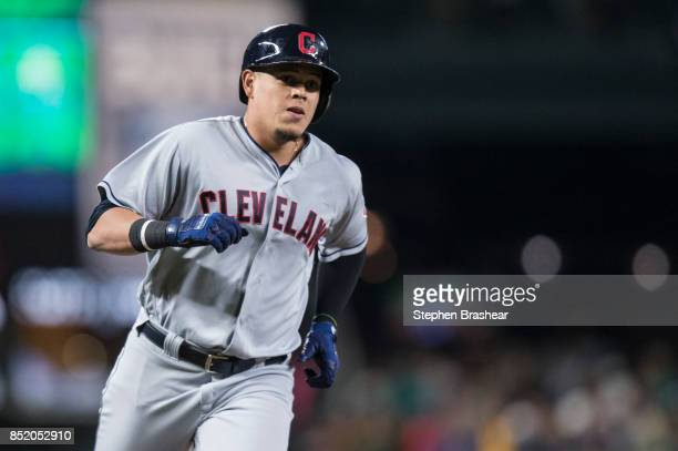 Giovanny Urshela of the Cleveland Indians rounds the bases after hitting a solo home run off of starting pitcher Erasmo Ramirez of the Seattle...
