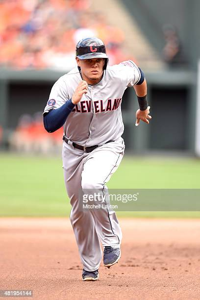 Giovanny Urshela of the Cleveland Indians runs to third base during game one of a baseball game against the Baltimore Orioles at Oriole Park at...