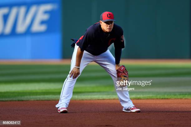 Giovanny Urshela of the Cleveland Indians takes ground ball during batting practice prior to Game 1 of the American League Division Series against...