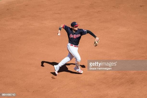 Giovanny Urshela of the Cleveland Indians throws against the Minnesota Twins on September 28 2017 at Progressive Field in Cleveland Ohio The Indians...