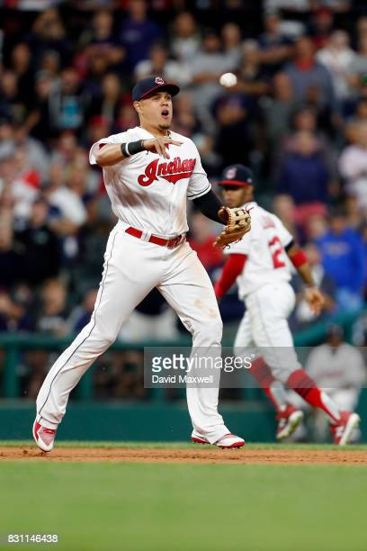 Giovanny Urshela of the Cleveland Indians throws to first base against the New York Yankees in the eighth inning at Progressive Field on August 4...