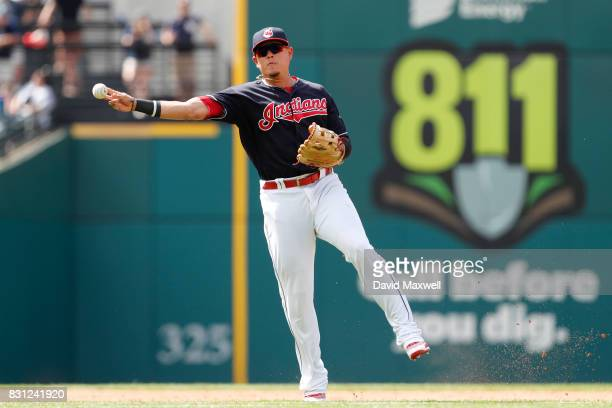 Giovanny Urshela of the Cleveland Indians throws to first base against the New York Yankees in the ninth inning at Progressive Field on August 6 2017...