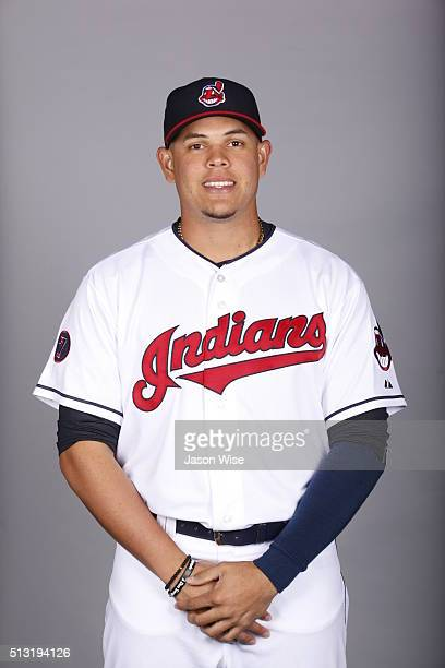Giovanny Urshela of the Indians poses during Photo Day on Saturday February 27 2016 at Goodyear Ballpark in Goodyear Arizona