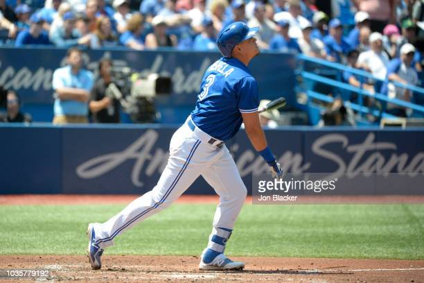 Giovanny Urshela of the Toronto Blue Jays bats during a game between the Los Angeles Angels and the Toronto Blue Jays at the Rogers Centre on...