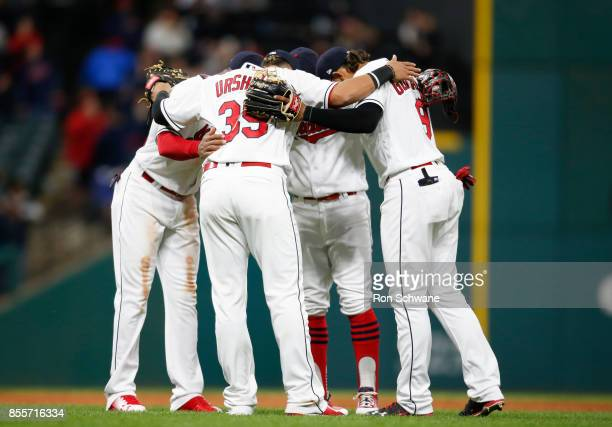 Giovanny Urshela Yandy Diaz Francisco Lindor and Erik Gonzalez of the Cleveland Indians celebrate a 10 1 victory over the Chicago White Sox during...