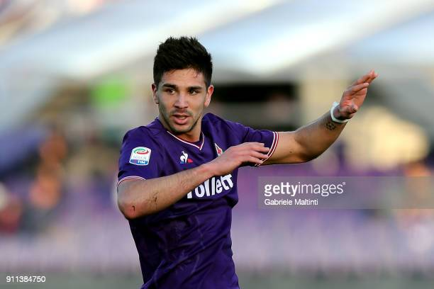 Giovasnni Simeone of ACF Fiorentina during the serie A match between ACF Fiorentina and Hellas Verona FC at Stadio Artemio Franchi on January 28 2018...