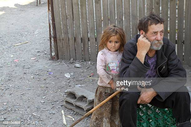 gipsy grandfather & niece - niece stock pictures, royalty-free photos & images